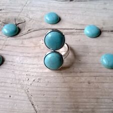 Anillo doble piedras turquesa ajustable plateado anillo boho etnico anillo chic