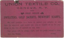 1900s Union Textile Co. Geneva New York Men's Sweaters Fashion Price Card
