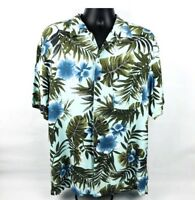 Caribbean Joe Large Men's Shirt Hawaiian Aloha Camp Tropical Blue Rayon (E)