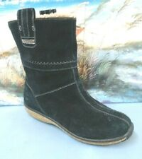 Timberland Womens Winter Boots 7826 Black Suede Pull On Faux Fur SIZE 6.5 W