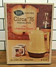 *RARE* Vintage Mirro-Matic 8 cup Electric Percoltor Yellow Coffee Pot - OPEN BOX