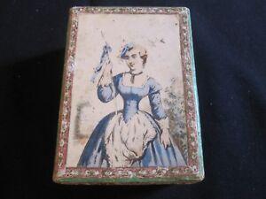 19th C School Girl Folk Art Wallpaper Jewelry Box.