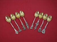 Harlequin by Reed & Barton Sterling Silver Set of 8 Demitasse Spoons Floral 4""