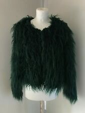 BNWT BLENDSHE Dark Green Faux Fur Shaggy Long Hair Jacket Size S