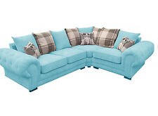 BRAND NEW DESIGNER FABRIC VERONA CORNER SOFA GRACELAND BLUE LEFT OR RIGHT
