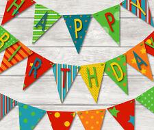 BRIGHT BIRTHDAY BUNTING - HAPPY BIRTHDAY CELEBRATION 18 FLAGS! BANNER DECORATION