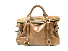 Auth miumiu Brown Leather Handbag