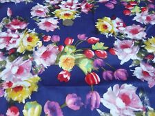 ITALIAN STRETCH COTTON SATEEN-FLORAL PRINT-NAVY/RED/GOLD-DRESS FABRIC-FREE P&P