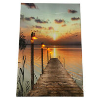 4 LED Light Up HD Autumn Wood Pier Scene Wall Home Decor Canvas Picture Gift Art