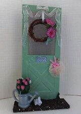 Dollhouse mini 1:12 handcrafted garden door flowers, wreath watering can bunny