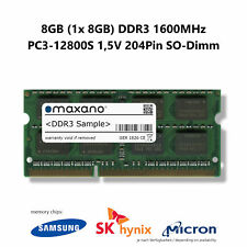 8GB (1x 8GB) DDR3 1600MHz (PC3-12800S) 1,5V 204Pin SO Dimm Arbeitsspeicher RAM
