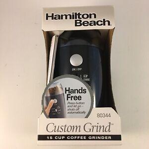 Hamilton Beach Custom Grind 15 Cup Coffee Grinder Model 80344 NEW Hands Free