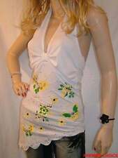 NEW WHITE YELLOW BUTTERFLY BEAD AND SEQUIN UNPADDED BRA HALTER NECK TOP 8