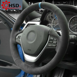 Black Alcantara Steering Wheel Cover For BMW 1 2 3 4 Series F20 F21 F23 F31 F33