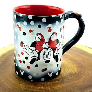Disney Minnie Mouse Ceramic Coffee Mug | Black Red | Polka Dots