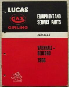 LUCAS VAUXHALL & BEDFORD Spares List 1966 #904/66 VICTOR Viva CRESTA VX4/90 ++
