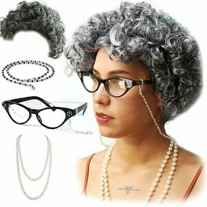 Vibe Old Lady Wig Costume Set, Gray Hair Granny Wig, Gray Curly, Size Fits Most