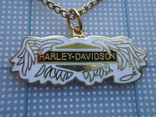 VTG 80s Harley Davidson BROKEN WINGS biker necklace BLACK WHITE GOLD PENDANT