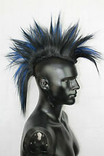 Black & Blue Mohawk Head Piece, Glued or Clip In, Mens Wig, Unisex, Human Hair