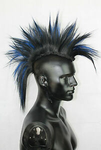 Black & Blue Mohawk Head Piece, Glued or Clip In, Mens Wig, Unisex, Human Hair