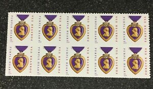 2015USA #5035 Forever Purple Heart Block of 10 microprinting (2014 date) sheet