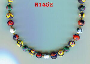 Vintage Venetian Murano Millefiori Beads 8mm Art Glass Assorted Colors B1452