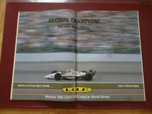 AUTOSPORT SEPTEMBER 1993 WITH A NIGEL MANSELL LOLA T93/00 FORD CENTRESPREAD READ
