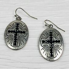 Silver Cross Earrings Black Beads In Oval Dangle Religious Modern Etched Design
