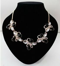 GOLD TONE CHAIN BLACK BEAD AND CLEAR  DIAMANTE RHINESTONE CRYSTAL NECKLACE