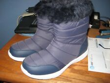 WOMENS BOOTS SIZE 10 SNOW BOOTS NAVY PUFF FAUX FUR ZIPPER SIDE MID-CALF NEW