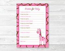 Pink Giraffe Jungle Safari Printable Baby Shower Wishes for Baby Advice Cards