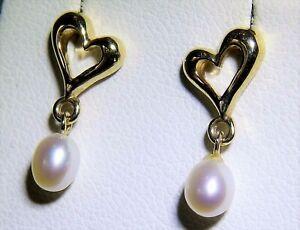 9CT GOLD PEARL EARRINGS HEART DESIGN  DROP STUD 9 CARAT YELLOW GOLD DANGLE