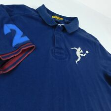 Ralph Lauren Rugby Blue Polo Golf Shirt Sz L #2 Big Player Logo