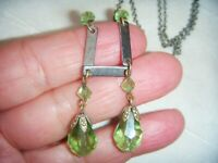 VINTAGE ART DECO Modernist Chrome Peridot Crystal Double Tear Drop NECKLACE