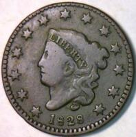 1828 Small Date Coronet Head Large Cent; VG; N-10