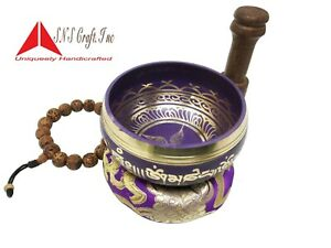 "3.75"" Tibetan Meditation Yoga mantra Singing Bowl Mallet, Cushion  & Hand Bead"