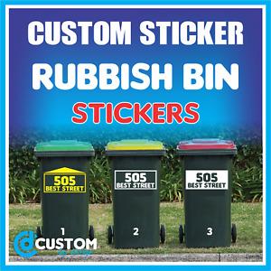 Rubbish Wheelie Bin Sign House Number Street Name Decal Garbage Bin Sticker