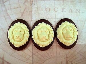 40x30mm Lion Cameos (3) - L694 Jewelry Finding