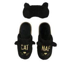 Dearfoams Black Faux Fur CAT NAP Scuff Slippers & Eye Mask Women's M 7-8 New