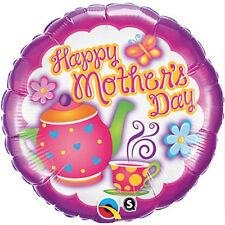 """MOTHER'S DAY PARTY SUPPLIES 18"""" TEATIME QUALATEX ROUND SHAPED FOIL BALLOON"""