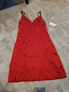 Bn Stella McCartney 100% Silk Night Slip, Dark Red, Lace Top Adjustable Straps S