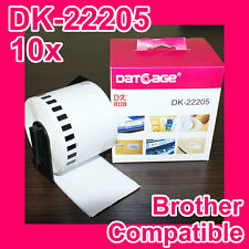 10 Rolls of Compatible Brother DK-22205 Continuous Label
