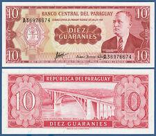 Paraguay 10 GUARANIES l.1952 UNC p.196 B
