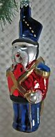 "Glass 155 Ornament Toy Soldier 5-3/4"" Gedania Poland Hand Painted Vintage 1980"