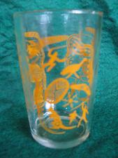 Vintage Swanky Swig ETA Peanut Butter Drinking Glass Yellow Aboriginal Motifs