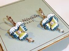 Pansy Earrings by Les Nereides - Enamel & Pearls - FREE UK P&P............CG0049