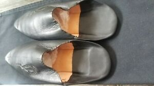 Unisex Moroccan Leather Slippers Custom Fes Vrai Cuir Artizant Size 46 US 10.5