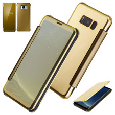 Luxury Gold Mirror View Slim Flip Smart Hard Case Cover for Samsung Galaxy S7