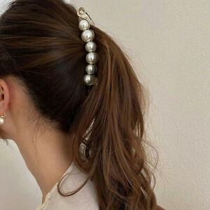 Girl Pearl Hairpin Hair Clip Banana Clip-Headwear Hairgrip-Ponytail Barrettes US