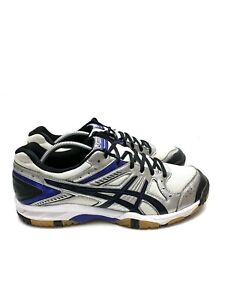 Asics Gel 1150V Volleyball Athletic Shoes Silver Blue B457Y Women's Size 14